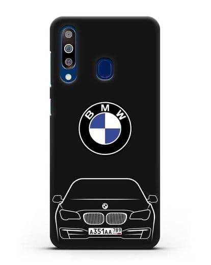 Чехол BMW 7 с автомобильным номером силикон черный для Samsung Galaxy A60 [SM-A606F]