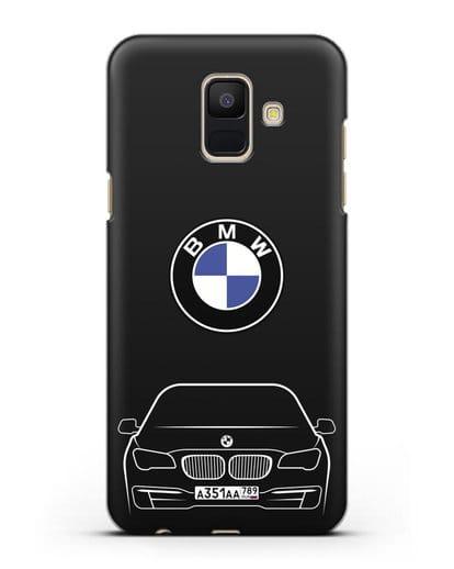 Чехол BMW 7 с автомобильным номером силикон черный для Samsung Galaxy A6 2018 [SM-A600F]