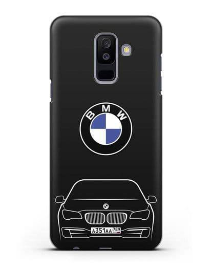 Чехол BMW 7 с автомобильным номером силикон черный для Samsung Galaxy A6 Plus 2018 [SM-A605F]