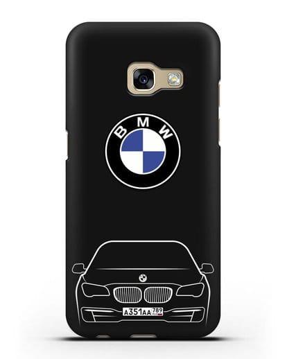 Чехол BMW 7 с автомобильным номером силикон черный для Samsung Galaxy A7 2017 [SM-A720F]