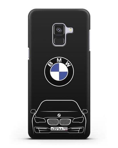 Чехол BMW 7 с автомобильным номером силикон черный для Samsung Galaxy A8 Plus [SM-A730F]