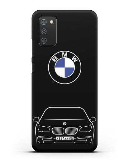 Чехол BMW 7 с автомобильным номером силикон черный для Samsung Galaxy A02s [SM-A025F]