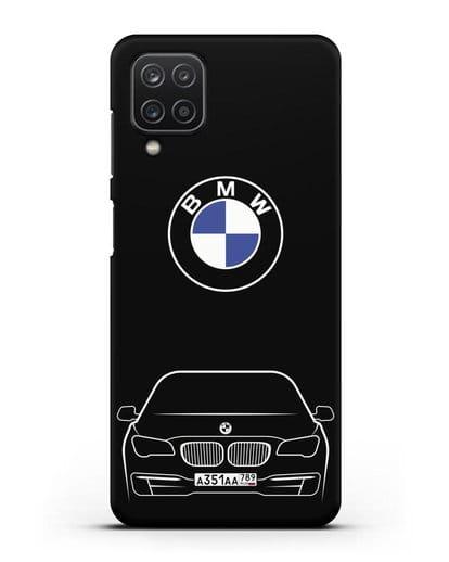 Чехол BMW 7 с автомобильным номером силикон черный для Samsung Galaxy A12 [SM-A125F]