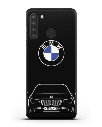 Чехол BMW 7 с автомобильным номером силикон черный для Samsung Galaxy A21 [SM-A215]