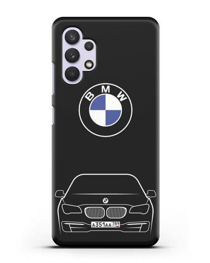 Чехол BMW 7 с автомобильным номером силикон черный для Samsung Galaxy A32 4G [SM-A325F]