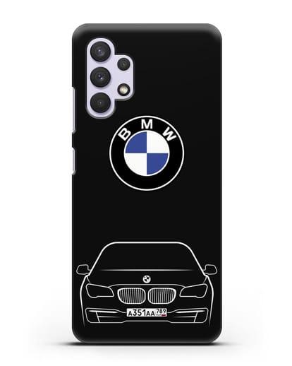 Чехол BMW 7 с автомобильным номером силикон черный для Samsung Galaxy A32 5G [SM-A326B]