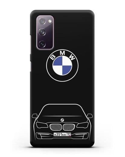 Чехол BMW 7 с автомобильным номером силикон черный для Samsung Galaxy S20 FE [SM-G780F]