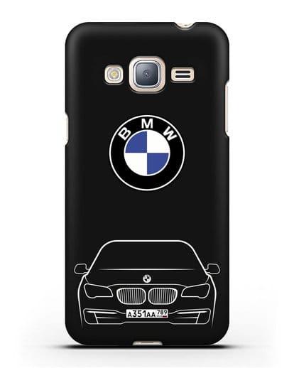 Чехол BMW 7 с автомобильным номером силикон черный для Samsung Galaxy J3 2016 [SM-J320F]