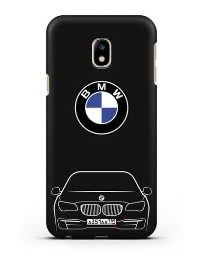 Чехол BMW 7 с автомобильным номером силикон черный для Samsung Galaxy J3 2017 [SM-J330F]