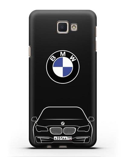 Чехол BMW 7 с автомобильным номером силикон черный для Samsung Galaxy J5 Prime [SM-G570]