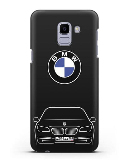 Чехол BMW 7 с автомобильным номером силикон черный для Samsung Galaxy J6 2018 [SM-J600F]