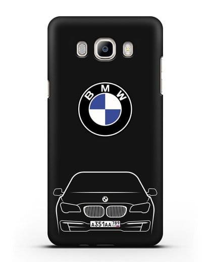 Чехол BMW 7 с автомобильным номером силикон черный для Samsung Galaxy J7 2016 [SM-J710F]