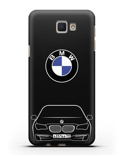 Чехол BMW 7 с автомобильным номером силикон черный для Samsung Galaxy J7 Prime [SM-G610F]