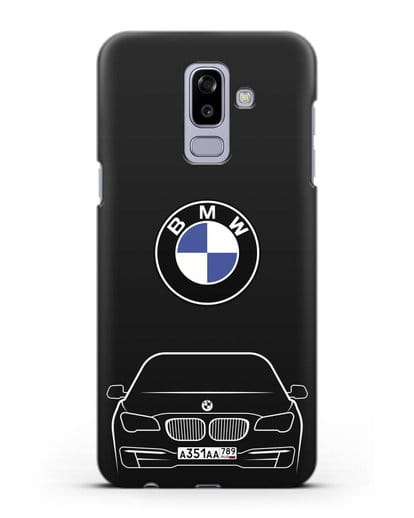 Чехол BMW 7 с автомобильным номером силикон черный для Samsung Galaxy J8 2018 [SM-J810F]