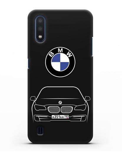 Чехол BMW 7 с автомобильным номером силикон черный для Samsung Galaxy M01 [SM-M015F]