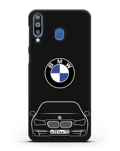 Чехол BMW 7 с автомобильным номером силикон черный для Samsung Galaxy M30 [SM-M305F]