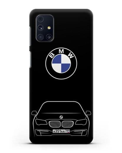 Чехол BMW 7 с автомобильным номером силикон черный для Samsung Galaxy M51 [SM-M515F]