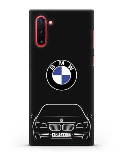 Чехол BMW 7 с автомобильным номером силикон черный для Samsung Galaxy Note 10 [N970F]
