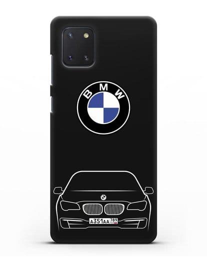 Чехол BMW 7 с автомобильным номером силикон черный для Samsung Galaxy Note 10 Lite [N770F]
