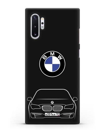 Чехол BMW 7 с автомобильным номером силикон черный для Samsung Galaxy Note 10 Plus [N975F]