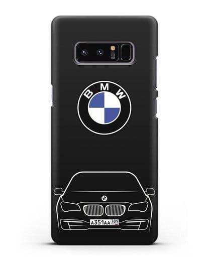 Чехол BMW 7 с автомобильным номером силикон черный для Samsung Galaxy Note 8 [N950F]