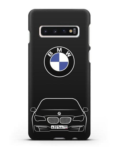 Чехол BMW 7 с автомобильным номером силикон черный для Samsung Galaxy S10 Plus [SM-G975F]