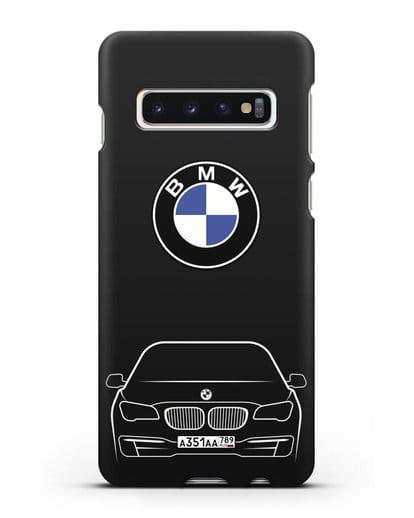 Чехол BMW 7 с автомобильным номером силикон черный для Samsung Galaxy S10 [SM-G973F]