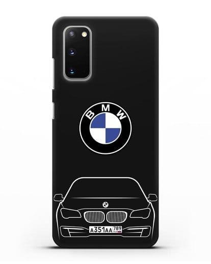 Чехол BMW 7 с автомобильным номером силикон черный для Samsung Galaxy S20 [SM-G980F]