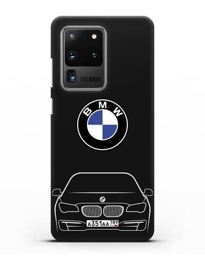 Чехол BMW 7 с автомобильным номером силикон черный для Samsung Galaxy S20 Ultra [SM-G988B]