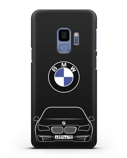 Чехол BMW 7 с автомобильным номером силикон черный для Samsung Galaxy S9 [SM-G960F]