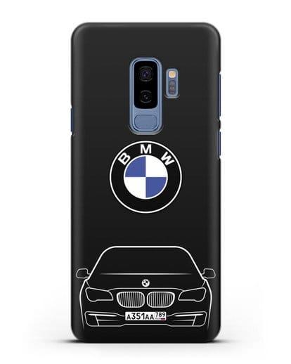 Чехол BMW 7 с автомобильным номером силикон черный для Samsung Galaxy S9 Plus [SM-G965F]