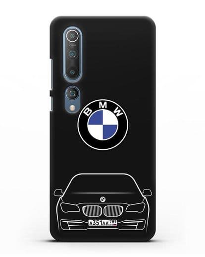 Чехол BMW 7 с автомобильным номером силикон черный для Xiaomi Mi 10 Pro