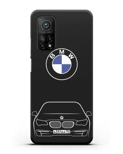 Чехол BMW 7 с автомобильным номером силикон черный для Xiaomi Mi 10t Pro