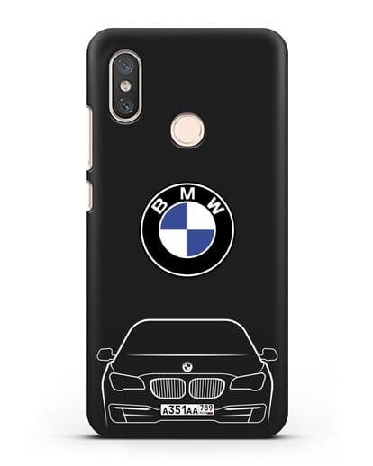 Чехол BMW 7 с автомобильным номером силикон черный для Xiaomi Mi 8