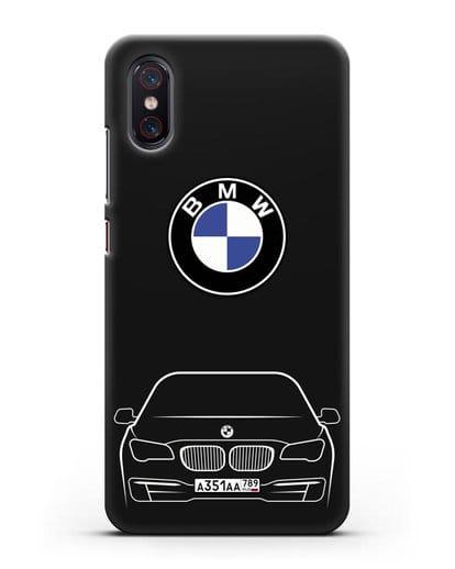 Чехол BMW 7 с автомобильным номером силикон черный для Xiaomi Mi 8 Pro