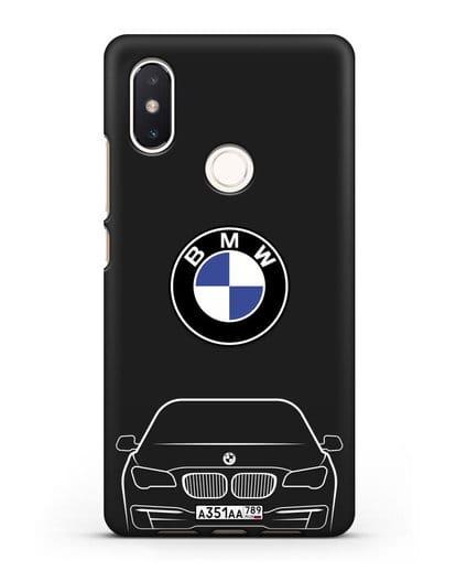 Чехол BMW 7 с автомобильным номером силикон черный для Xiaomi Mi 8 SE