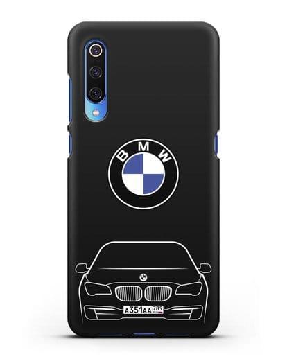 Чехол BMW 7 с автомобильным номером силикон черный для Xiaomi Mi 9