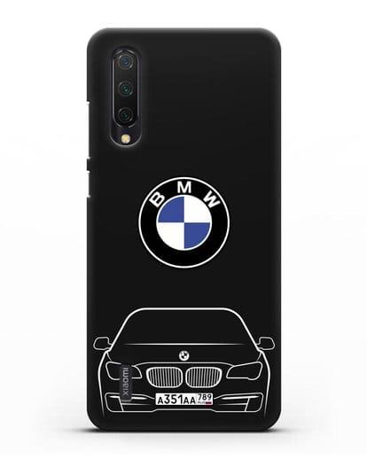 Чехол BMW 7 с автомобильным номером силикон черный для Xiaomi Mi 9 Lite