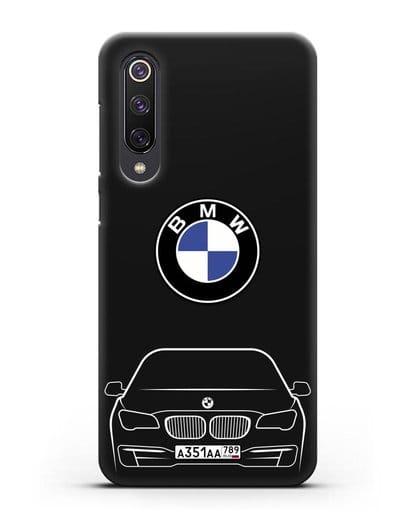 Чехол BMW 7 с автомобильным номером силикон черный для Xiaomi Mi 9 SE