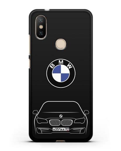Чехол BMW 7 с автомобильным номером силикон черный для Xiaomi Mi A2
