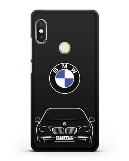 Чехол BMW 7 с автомобильным номером силикон черный для Xiaomi Mi A2 Lite