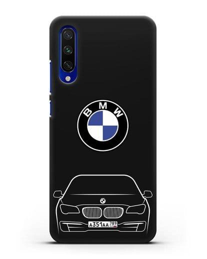 Чехол BMW 7 с автомобильным номером силикон черный для Xiaomi Mi A3