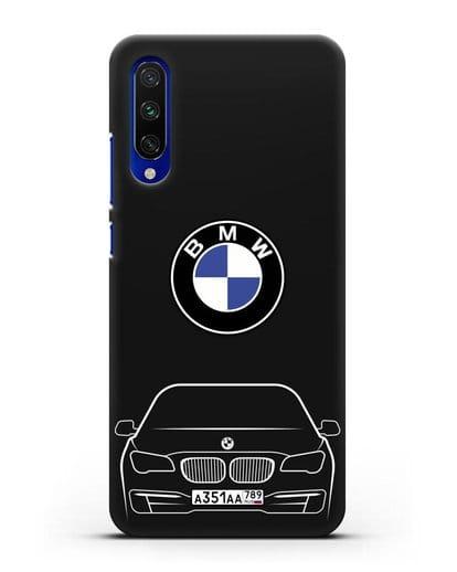 Чехол BMW 7 с автомобильным номером силикон черный для Xiaomi Mi CC9 E
