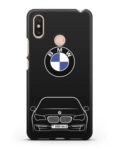 Чехол BMW 7 с автомобильным номером силикон черный для Xiaomi Mi Max 3