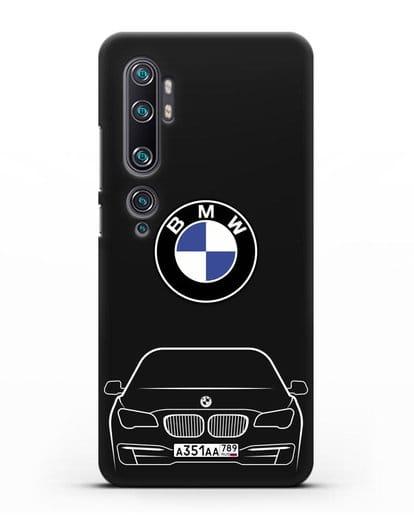 Чехол BMW 7 с автомобильным номером силикон черный для Xiaomi Mi Note 10 Pro