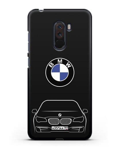 Чехол BMW 7 с автомобильным номером силикон черный для Xiaomi Pocophone F1