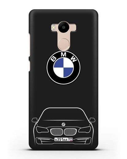 Чехол BMW 7 с автомобильным номером силикон черный для Xiaomi Redmi 4 Pro