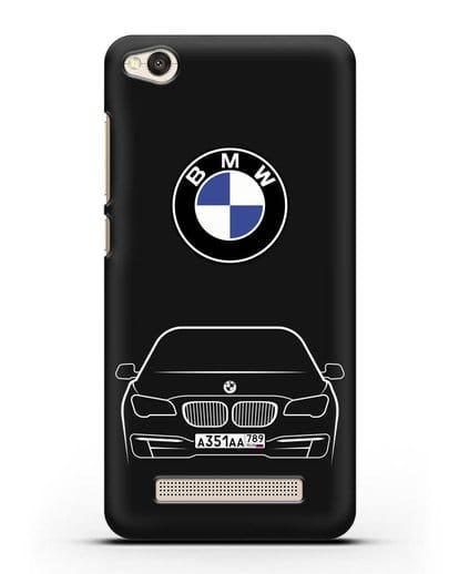 Чехол BMW 7 с автомобильным номером силикон черный для Xiaomi Redmi 4A
