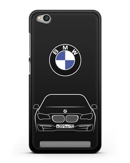 Чехол BMW 7 с автомобильным номером силикон черный для Xiaomi Redmi 5A