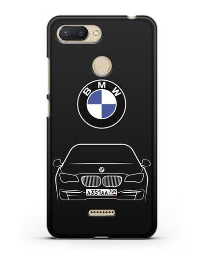 Чехол BMW 7 с автомобильным номером силикон черный для Xiaomi Redmi 6